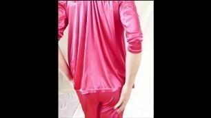 shiny red satin pyjama